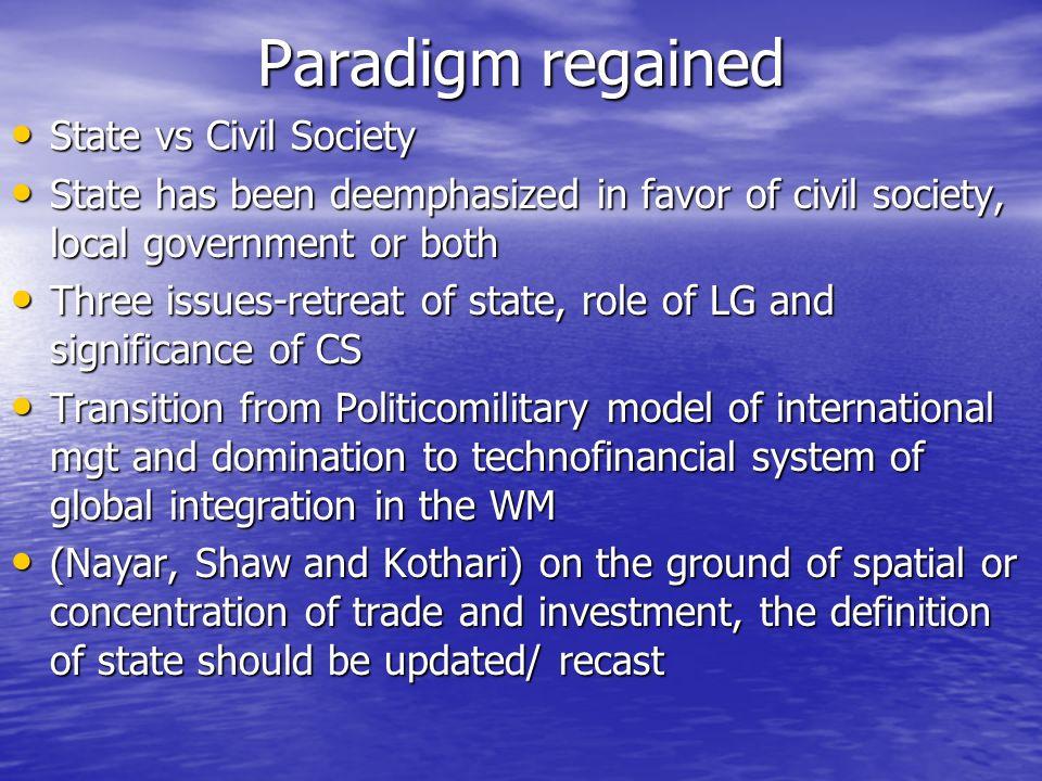 Paradigm regained State vs Civil Society