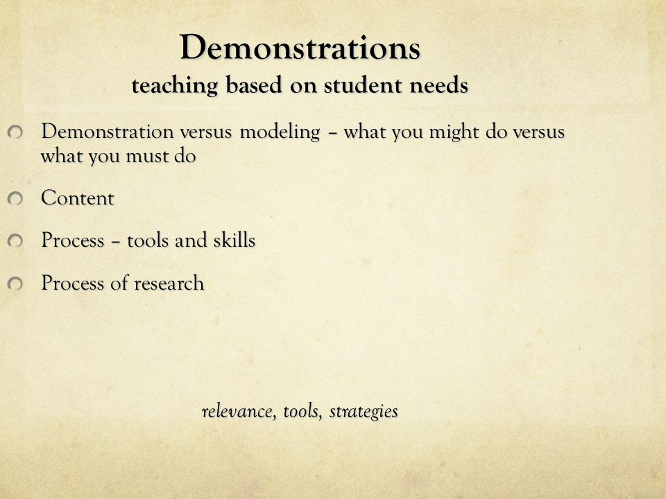 Demonstrations teaching based on student needs