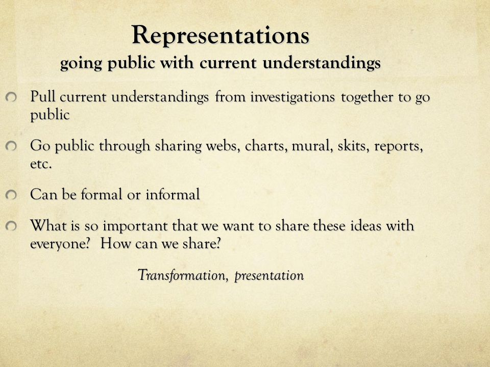 Representations going public with current understandings
