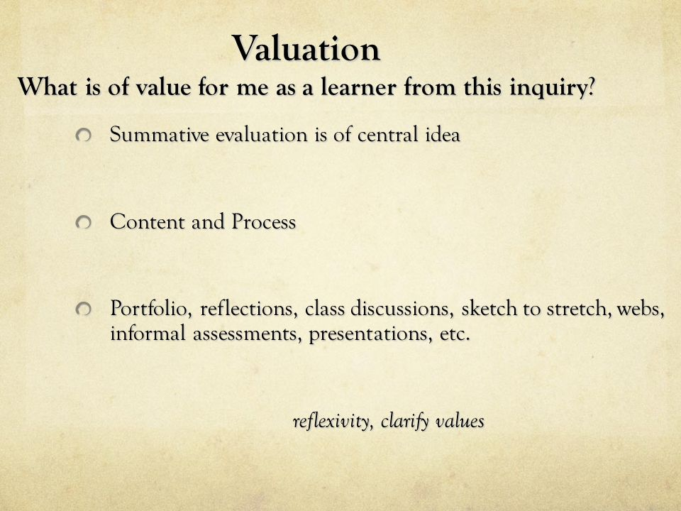Valuation What is of value for me as a learner from this inquiry