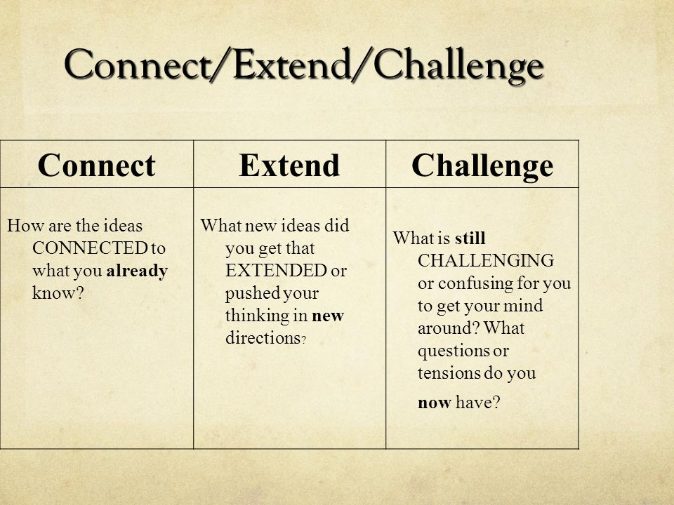 Connect/Extend/Challenge