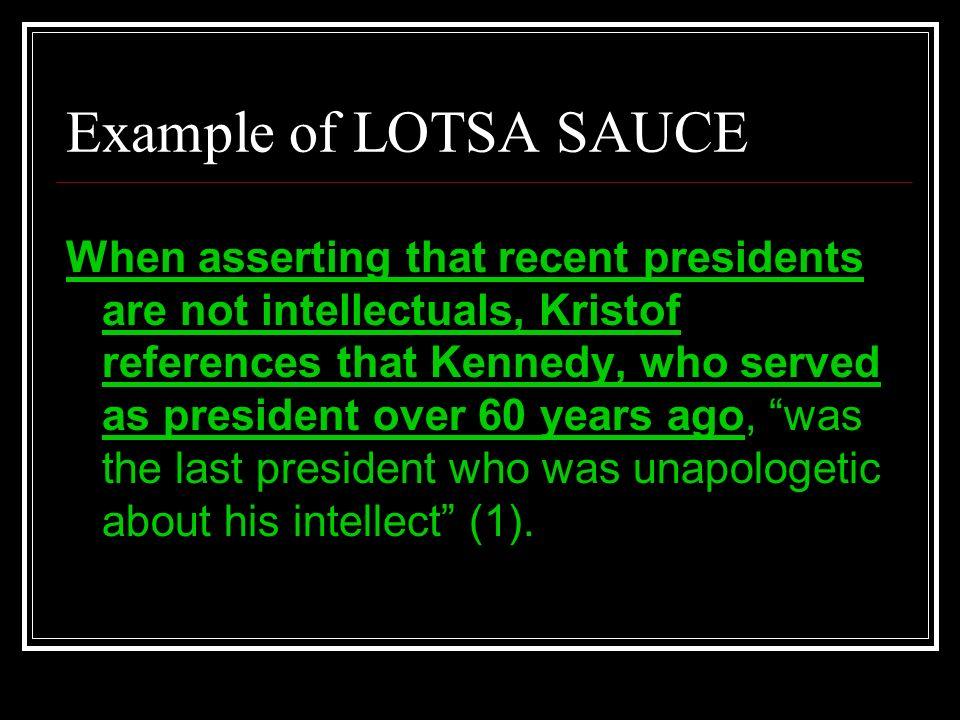 Example of LOTSA SAUCE