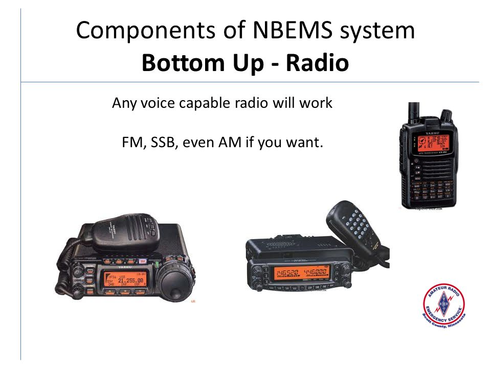 Components of NBEMS system Bottom Up - Radio