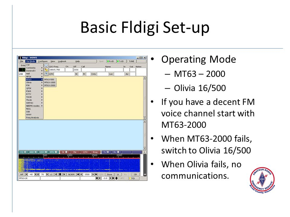 Basic Fldigi Set-up Operating Mode MT63 – 2000 Olivia 16/500