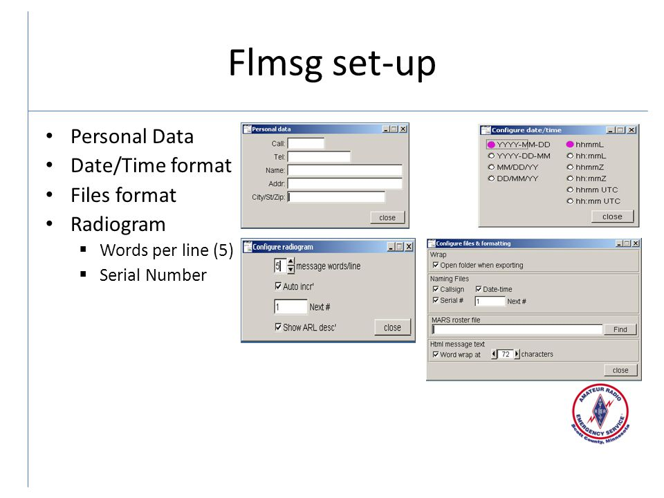 Flmsg set-up Personal Data Date/Time format Files format Radiogram