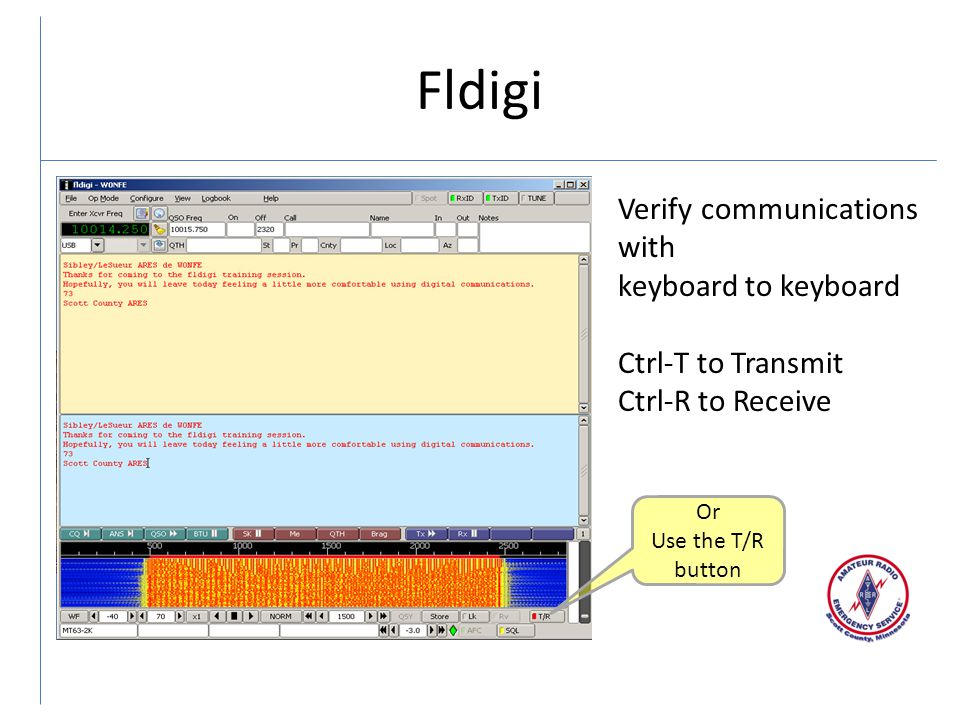 Fldigi Verify communications with keyboard to keyboard