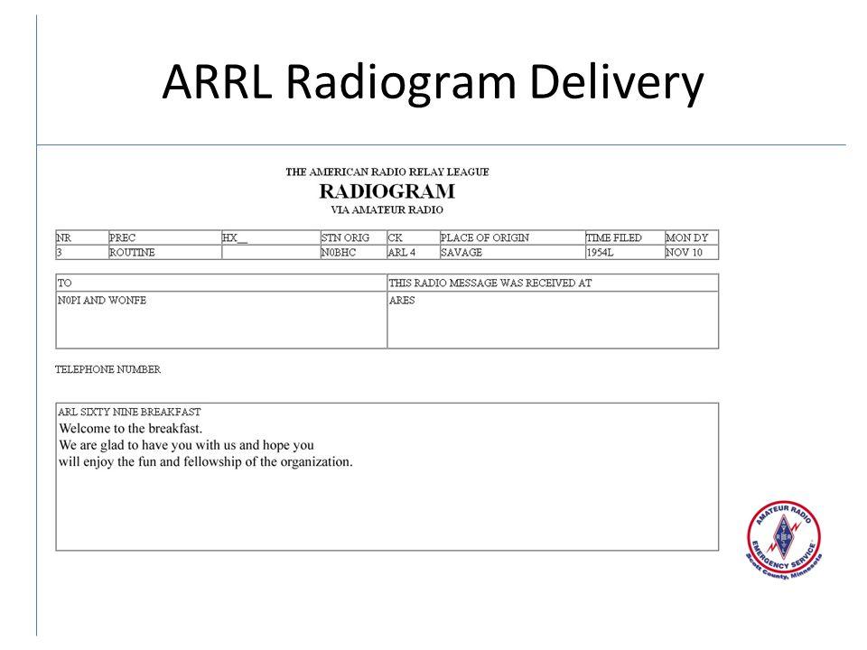 ARRL Radiogram Delivery