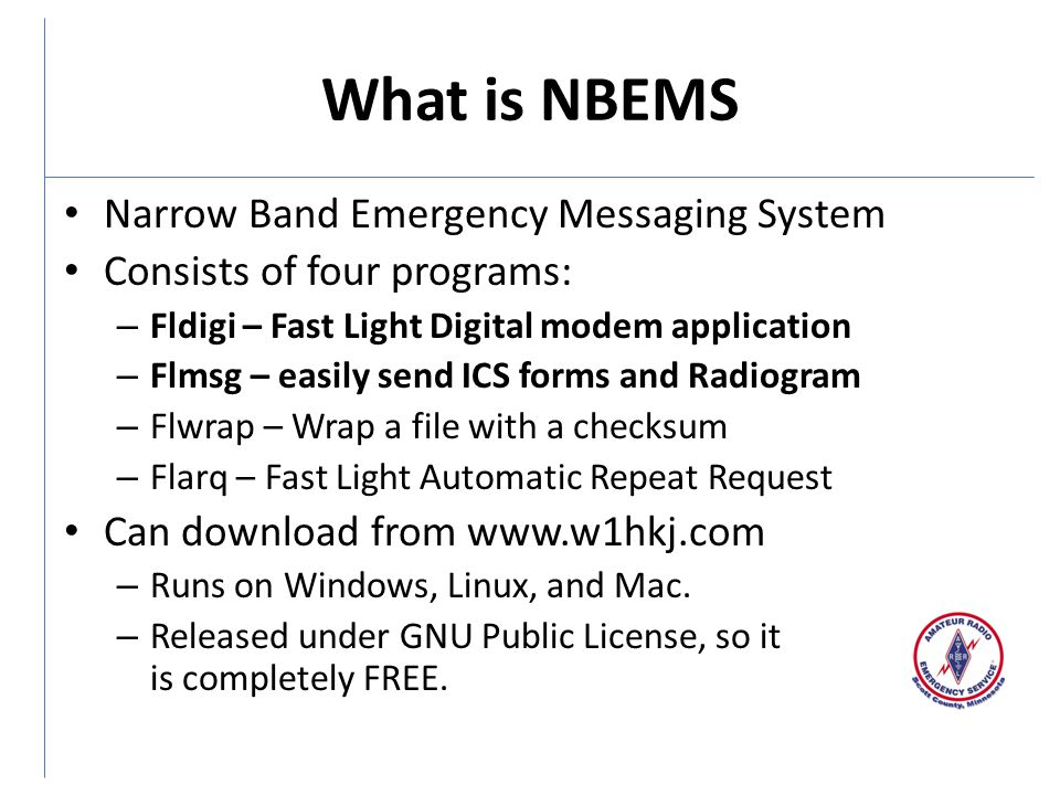 What is NBEMS Narrow Band Emergency Messaging System