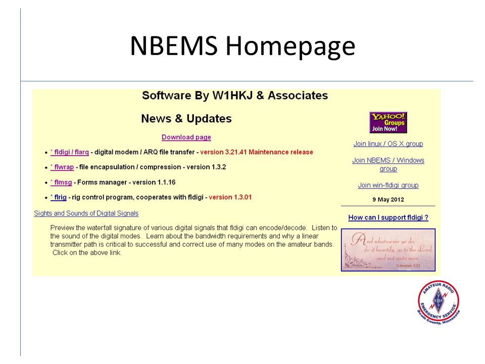NBEMS Homepage This is the homepage for w1hkj.com