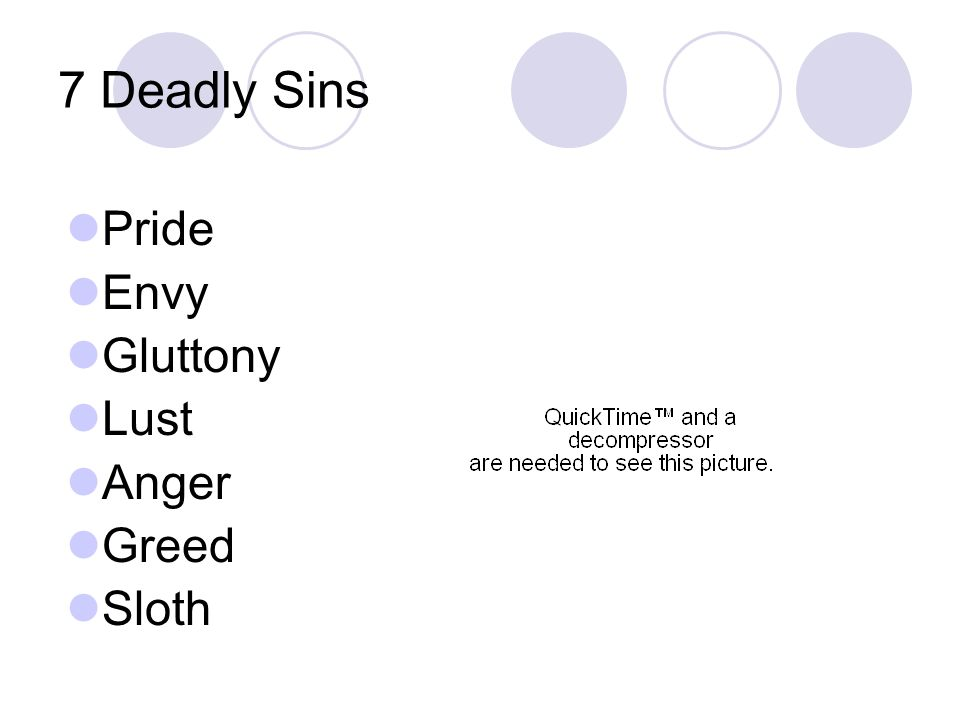 7 Deadly Sins Pride Envy Gluttony Lust Anger Greed Sloth