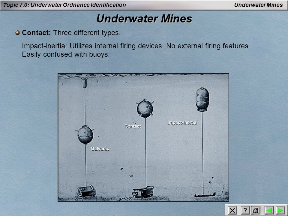 Underwater Mines Contact: Three different types.