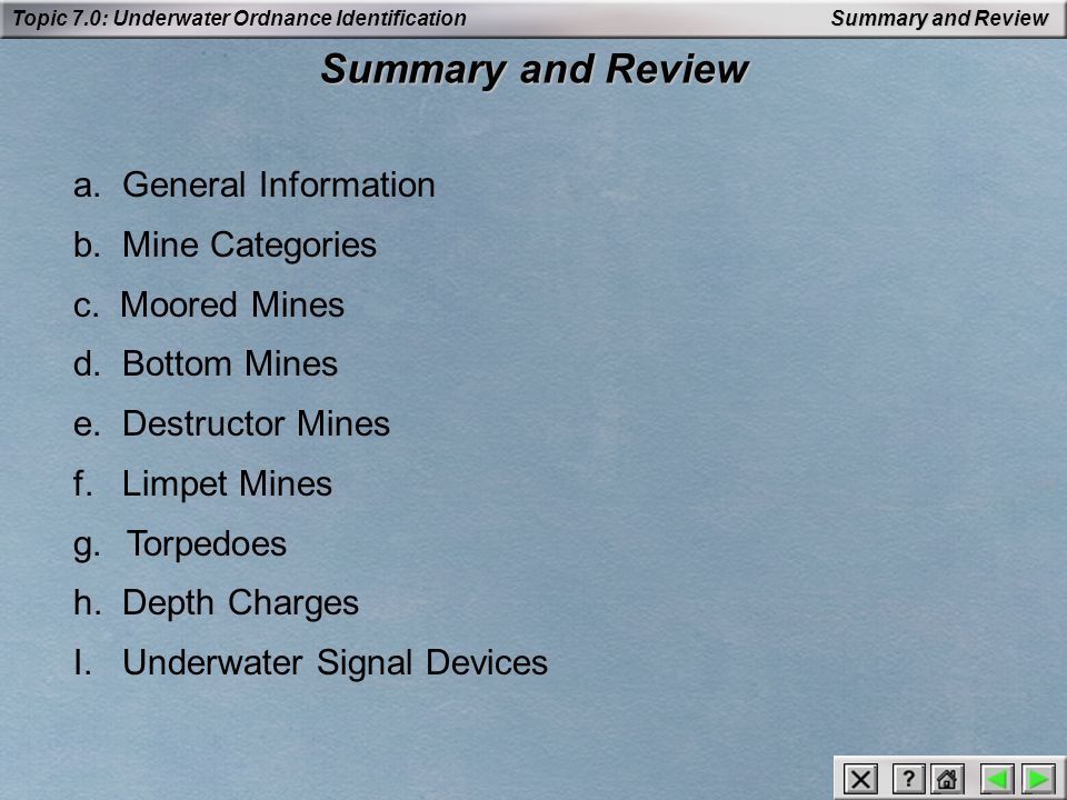 Summary and Review a. General Information b. Mine Categories
