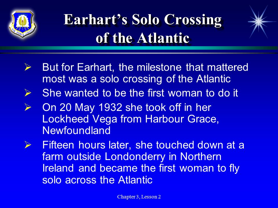 Earhart's Solo Crossing of the Atlantic