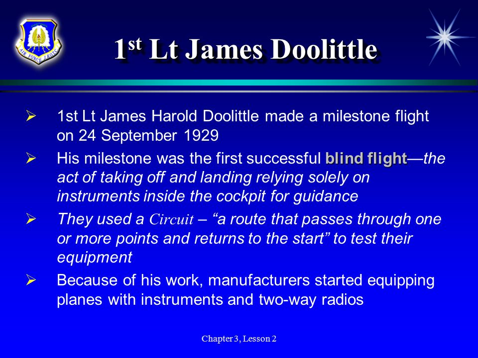 1st Lt James Doolittle 1st Lt James Harold Doolittle made a milestone flight on 24 September