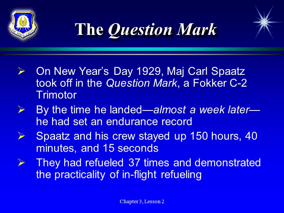 The Question Mark On New Year's Day 1929, Maj Carl Spaatz took off in the Question Mark, a Fokker C-2 Trimotor.