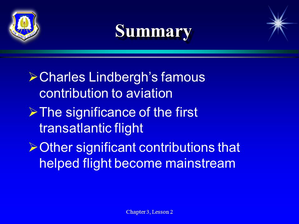 Summary Charles Lindbergh's famous contribution to aviation