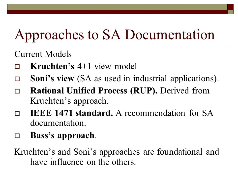 Approaches to SA Documentation