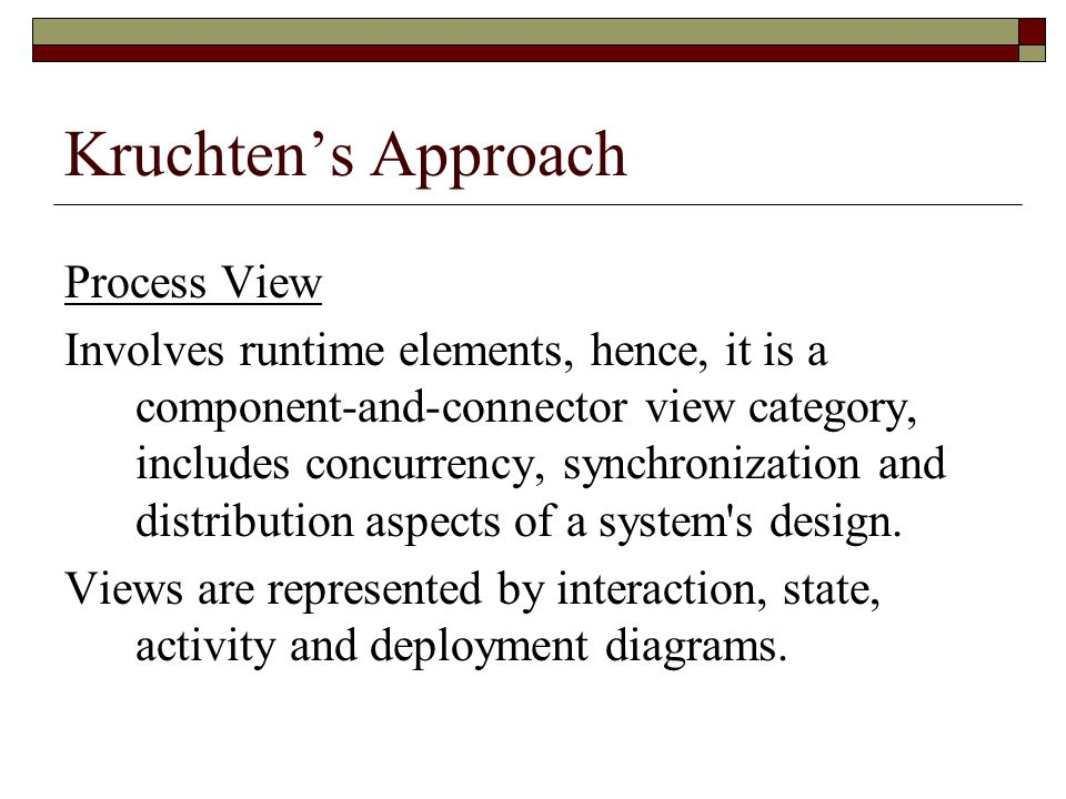 Kruchten's Approach Process View