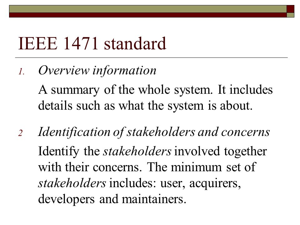 IEEE 1471 standard Overview information