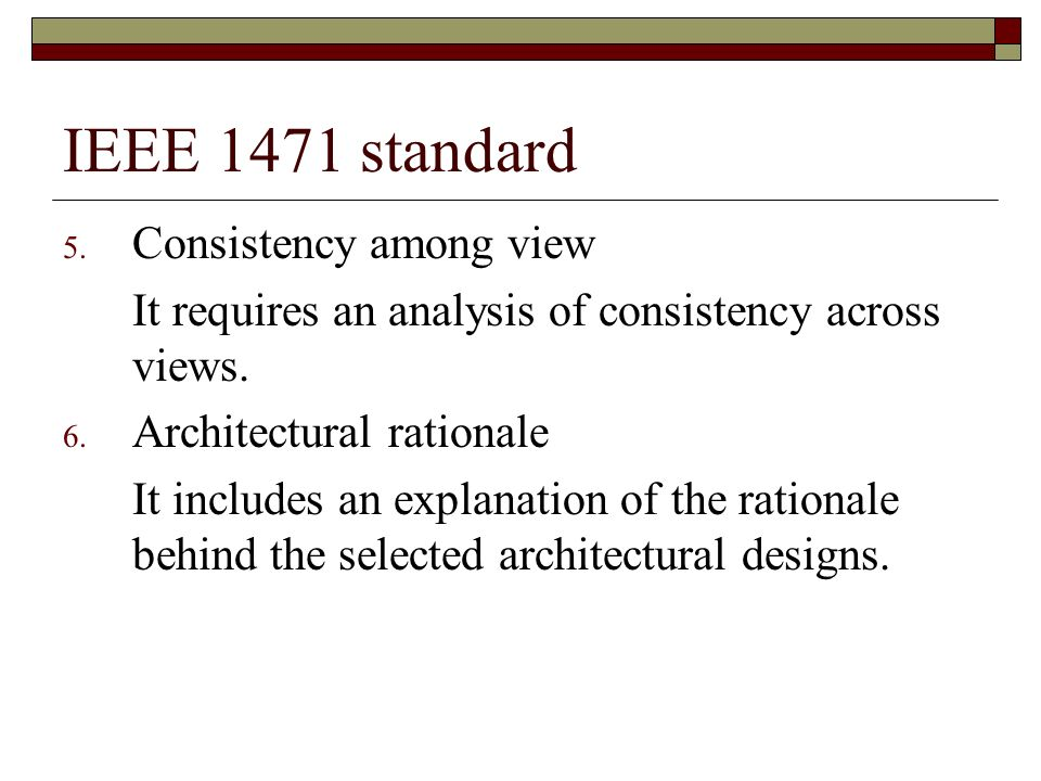 IEEE 1471 standard Consistency among view