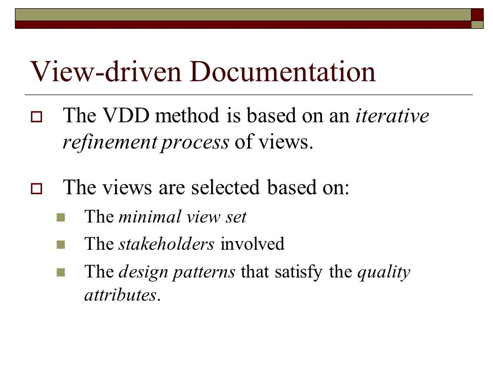View-driven Documentation