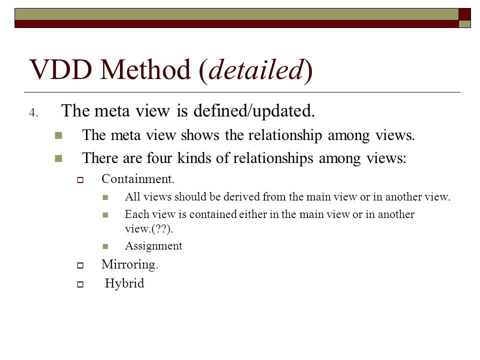 VDD Method (detailed) The meta view is defined/updated.