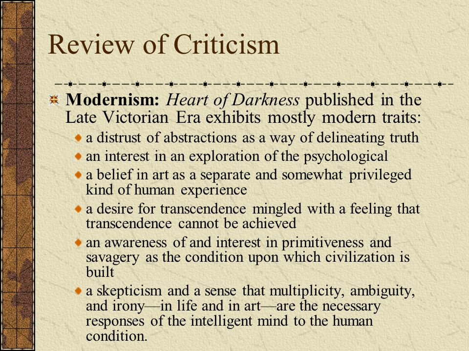 heart of darkness critical responses essay Heart of darkness - free response essay - free download as word doc (doc), pdf file (pdf), text file (txt) or read online for free.