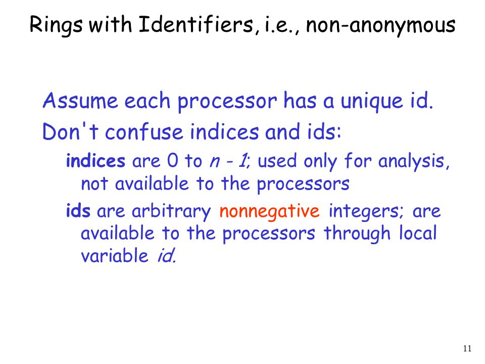 Rings with Identifiers, i.e., non-anonymous