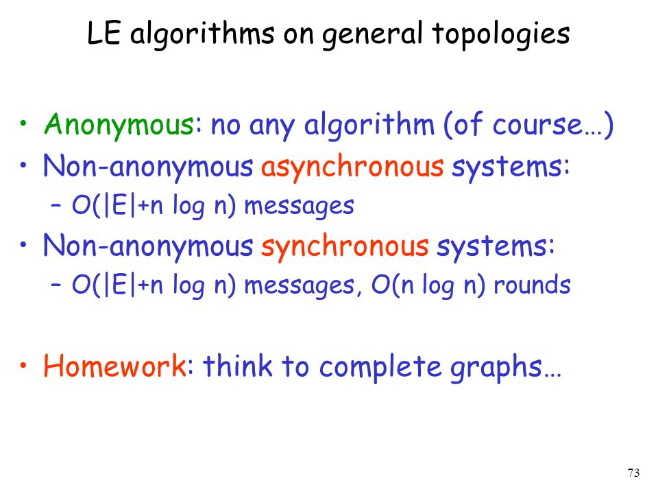 LE algorithms on general topologies
