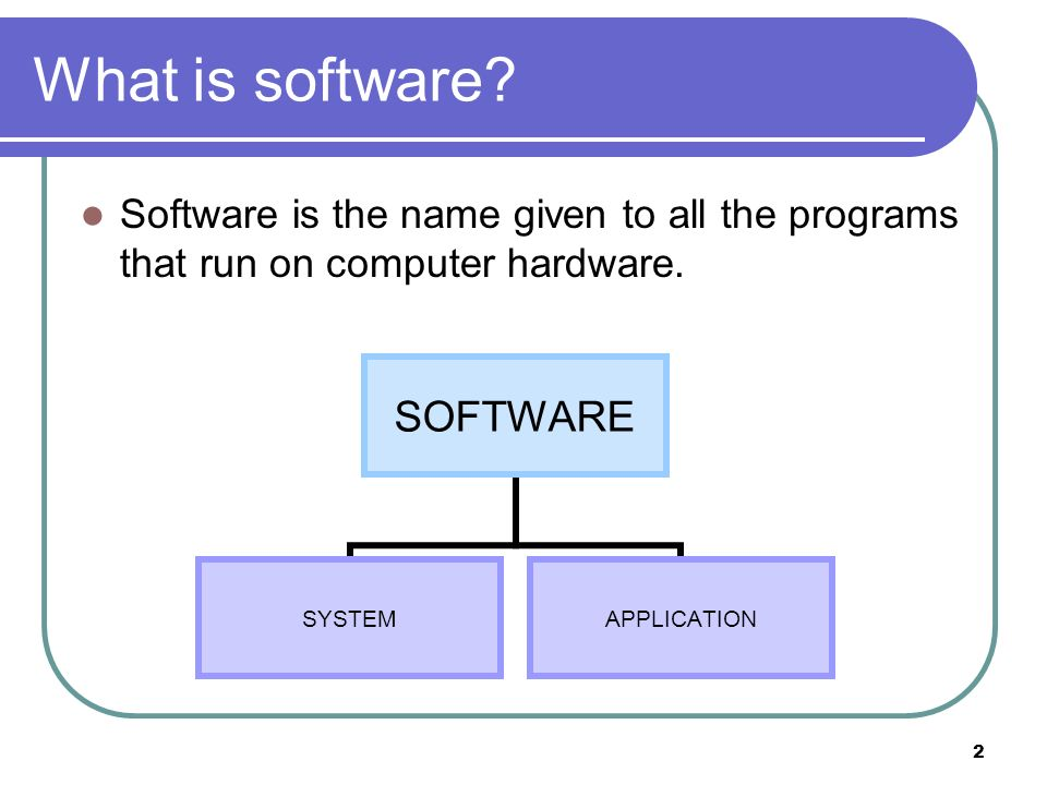 What is software Software is the name given to all the programs that run on computer hardware.