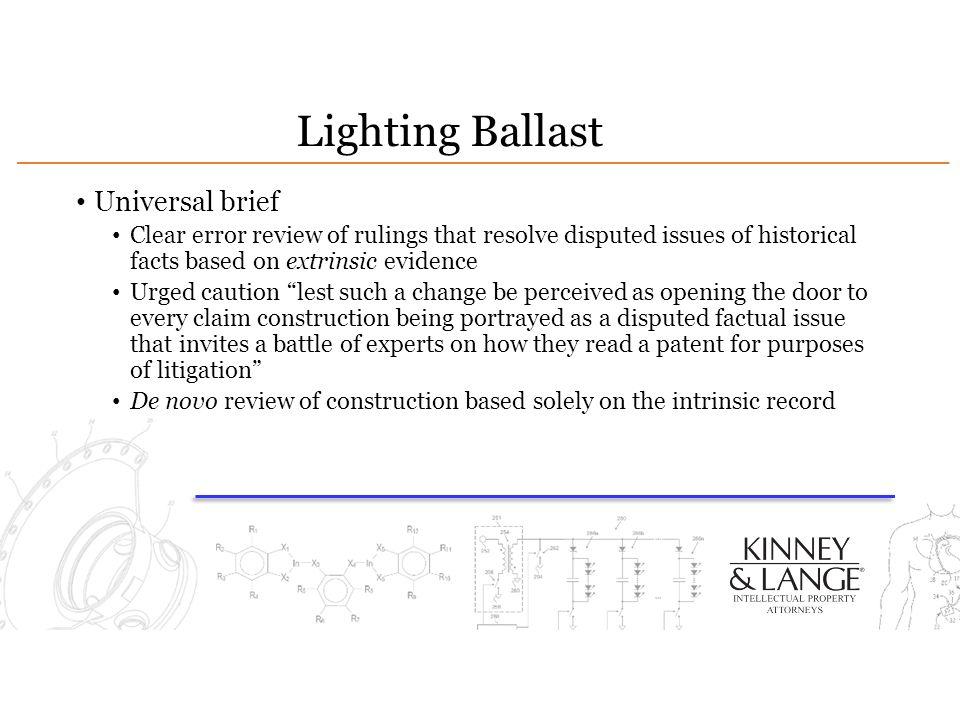 Lighting Ballast Universal brief