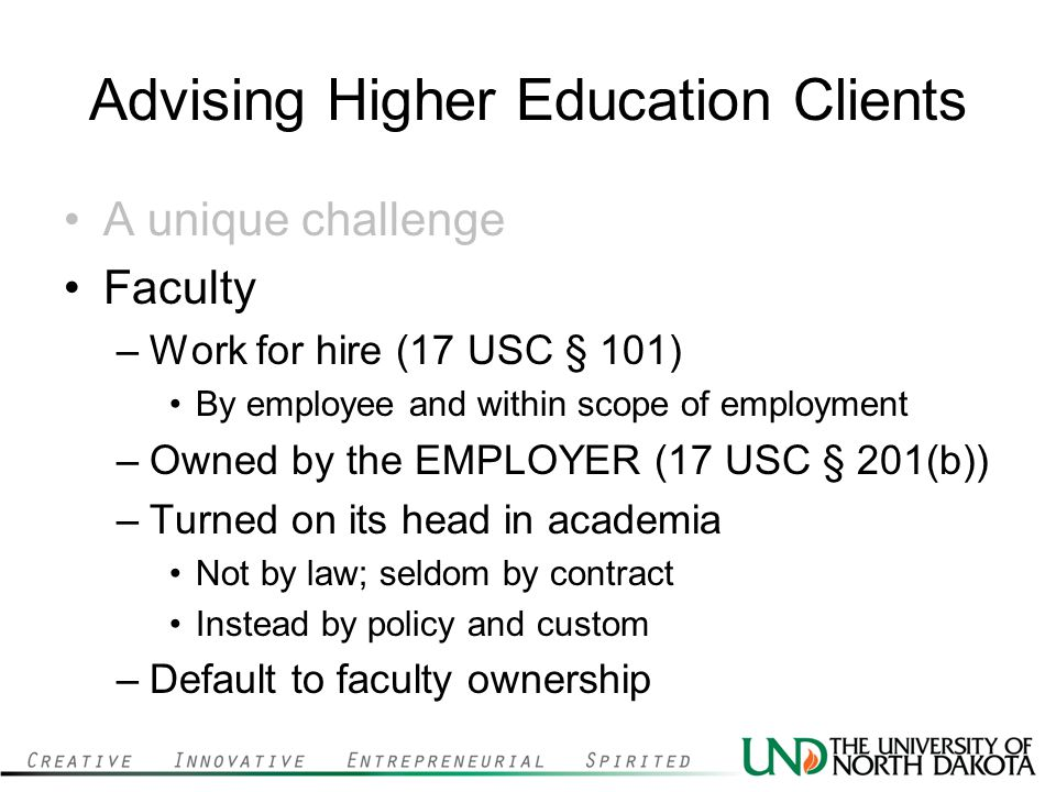 Advising Higher Education Clients