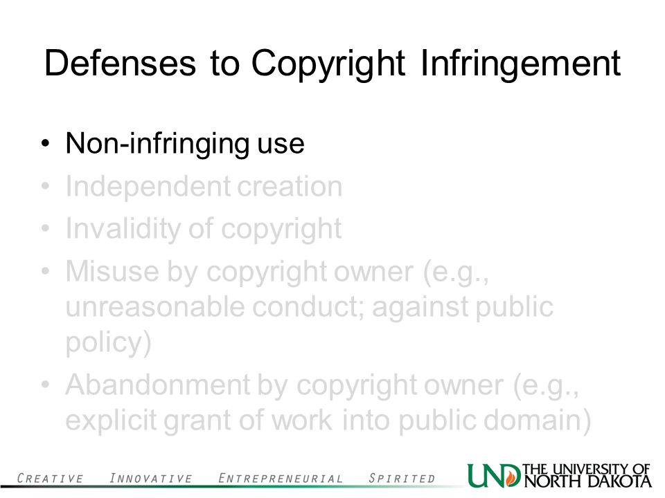 Defenses to Copyright Infringement