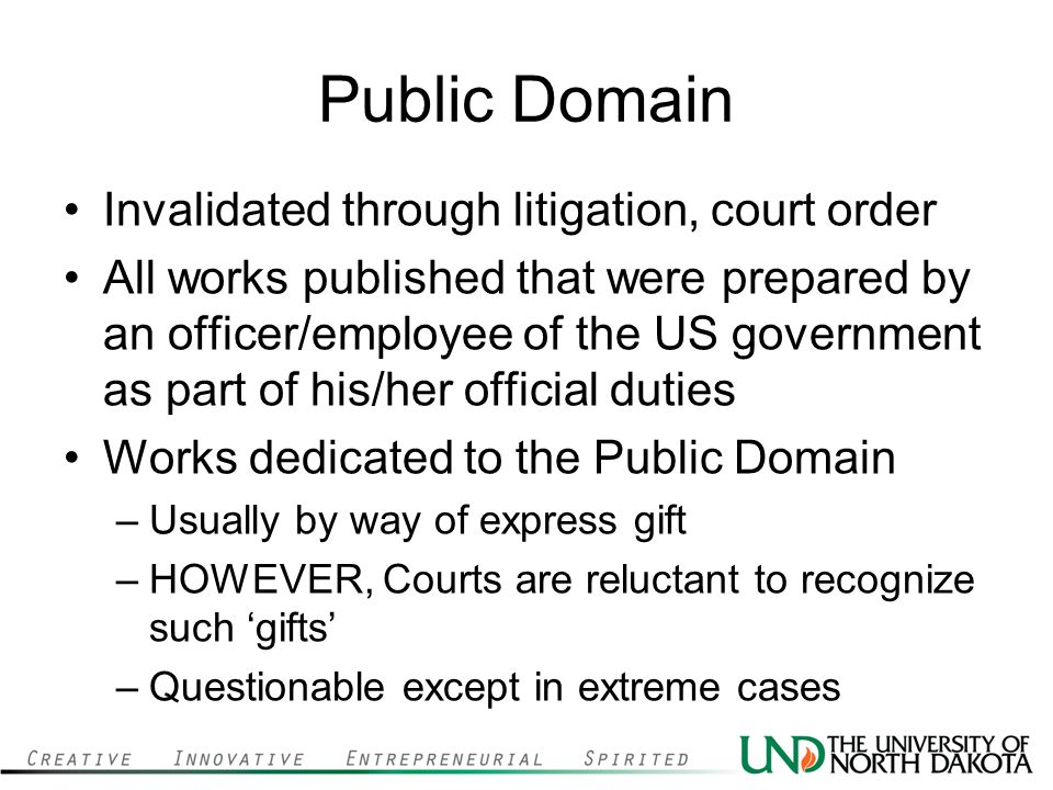 Public Domain Invalidated through litigation, court order