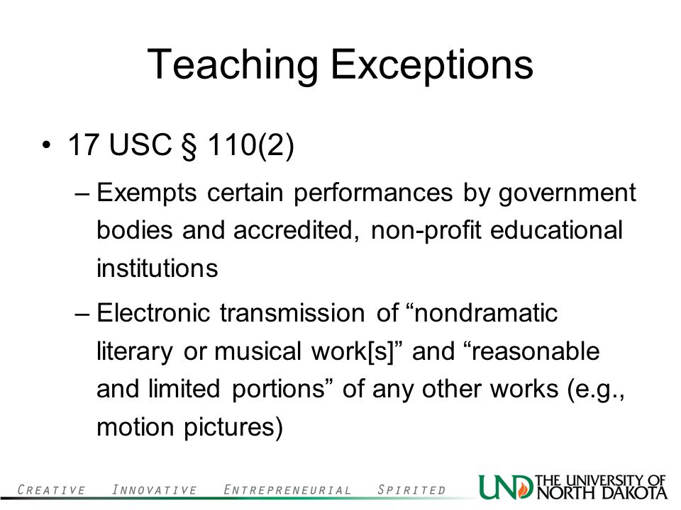 Teaching Exceptions 17 USC § 110(2)