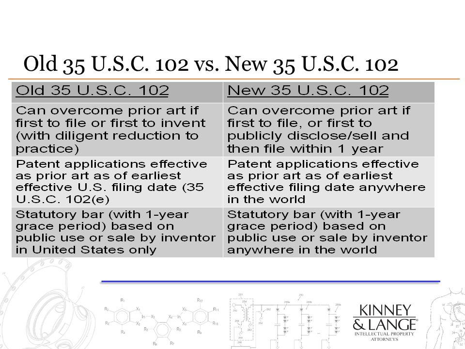 Old 35 U.S.C. 102 vs. New 35 U.S.C. 102