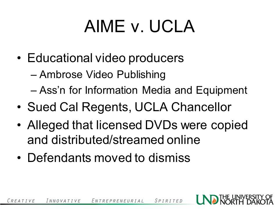 AIME v. UCLA Educational video producers