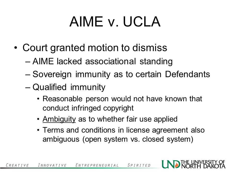 AIME v. UCLA Court granted motion to dismiss