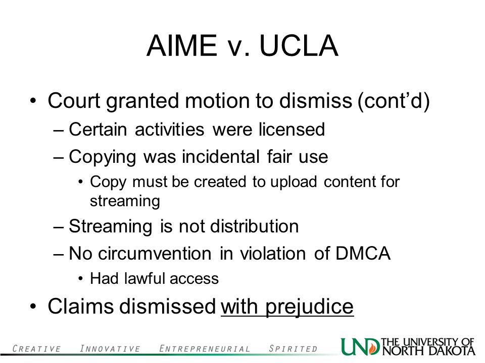 AIME v. UCLA Court granted motion to dismiss (cont'd)