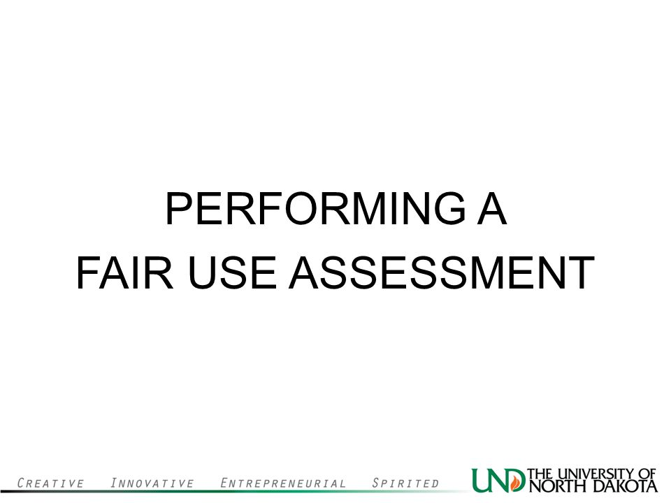 PERFORMING A FAIR USE ASSESSMENT