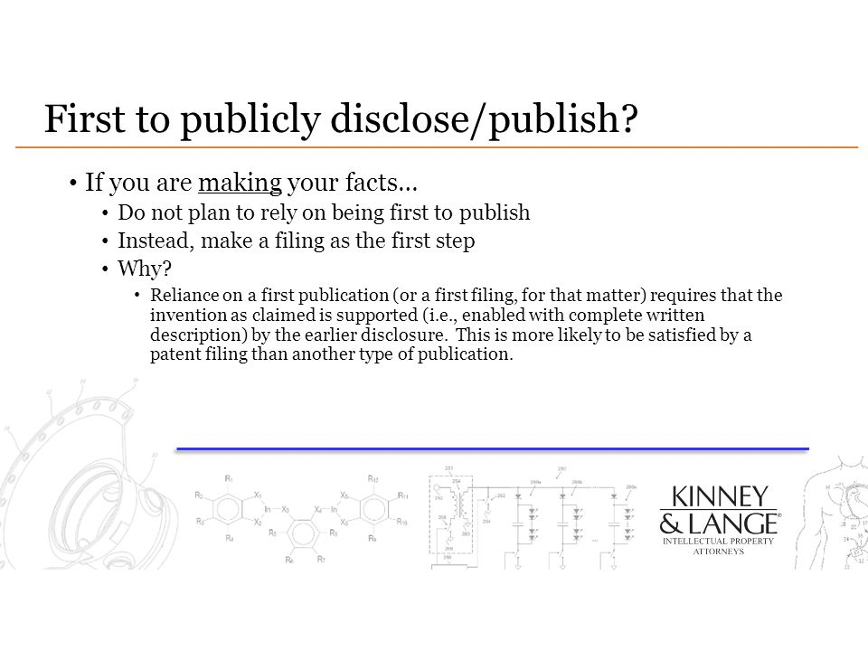 First to publicly disclose/publish