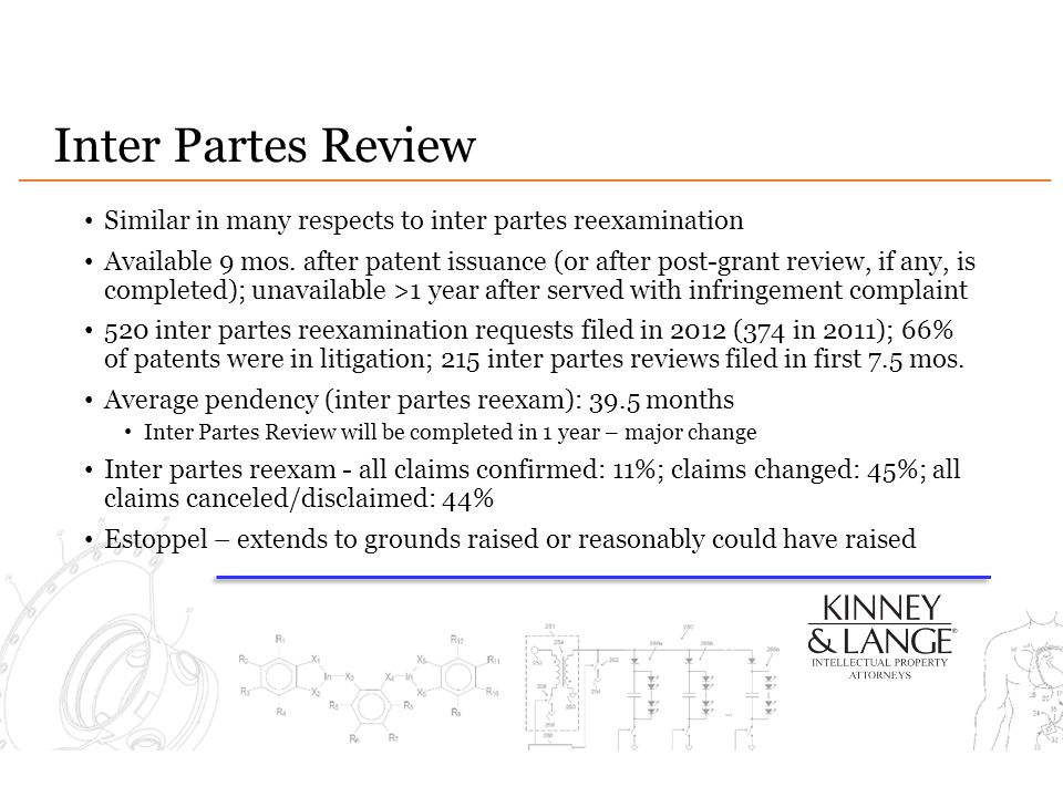 Inter Partes Review Similar in many respects to inter partes reexamination.