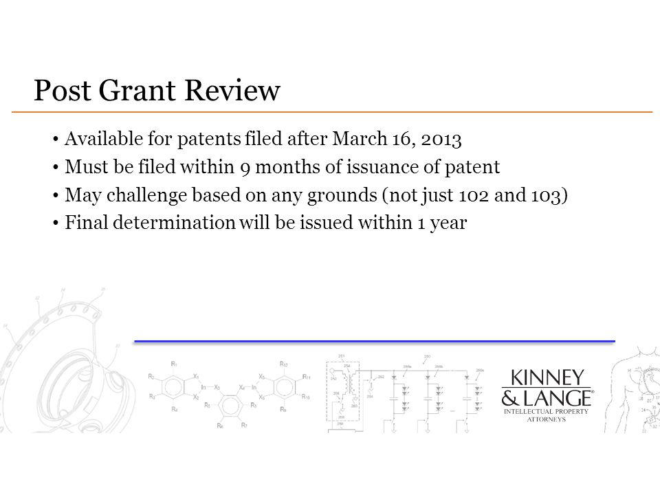 Post Grant Review Available for patents filed after March 16, 2013