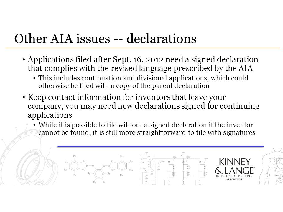 Other AIA issues -- declarations