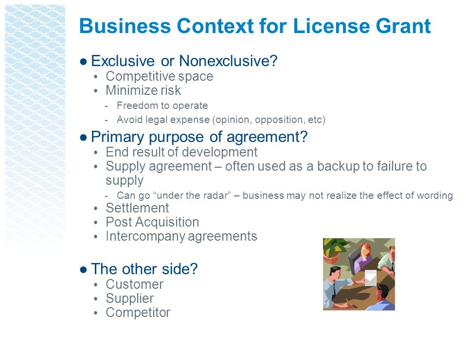 Business Context for License Grant