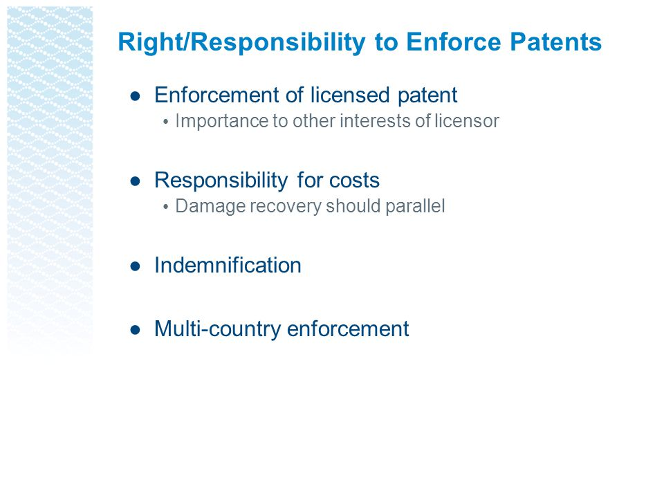 Right/Responsibility to Enforce Patents