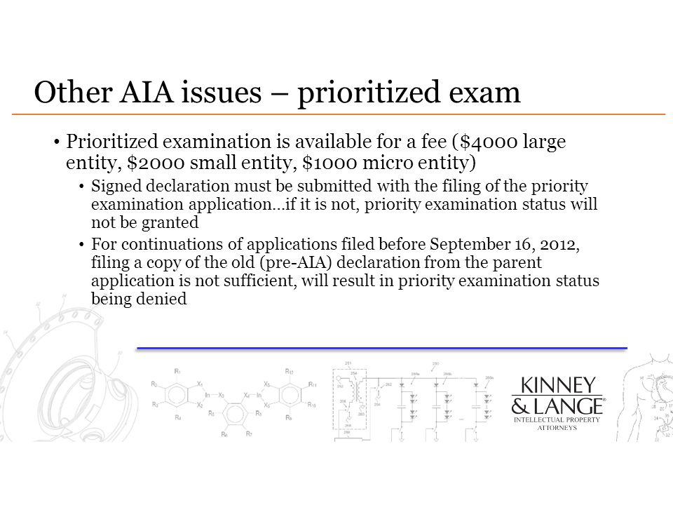 Other AIA issues – prioritized exam
