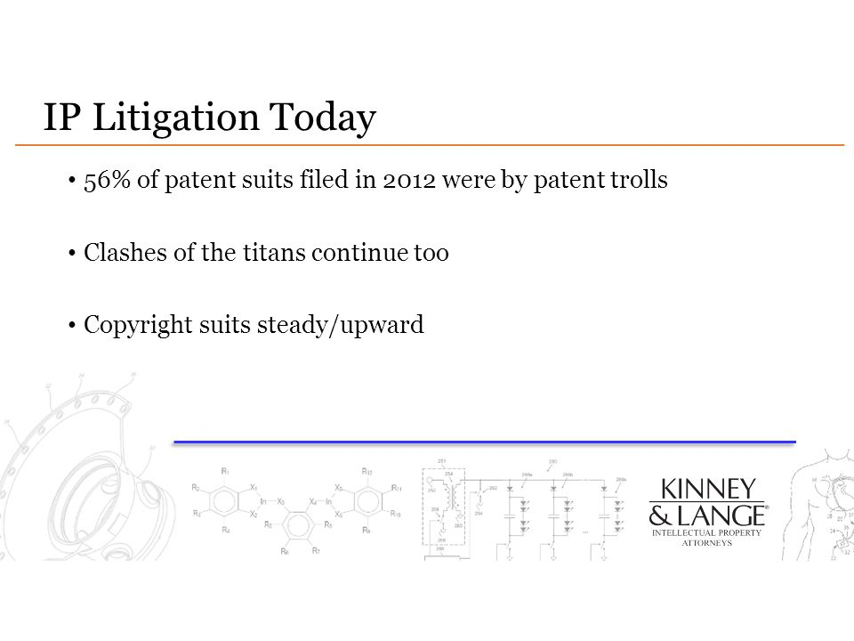 IP Litigation Today 56% of patent suits filed in 2012 were by patent trolls. Clashes of the titans continue too.
