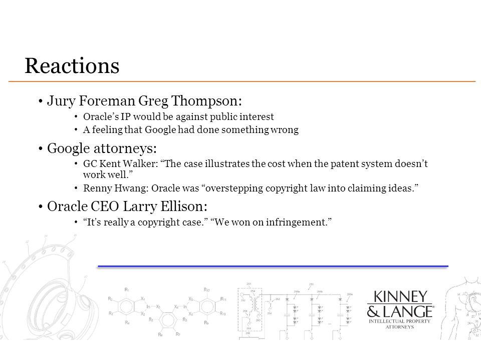 Reactions Jury Foreman Greg Thompson: Google attorneys: