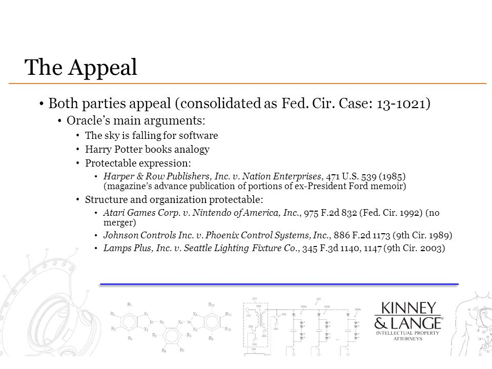 The Appeal Both parties appeal (consolidated as Fed. Cir. Case: 13-1021) Oracle's main arguments: The sky is falling for software.